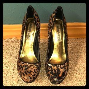 Naughty Monkey Sequin Cheetah Print Heels